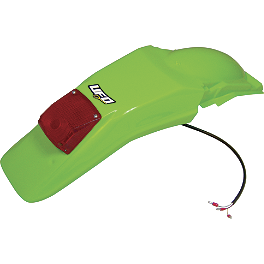 UFO Rear Fender With Light - Green - 1994 Kawasaki KDX200 UFO Radiator Shrouds