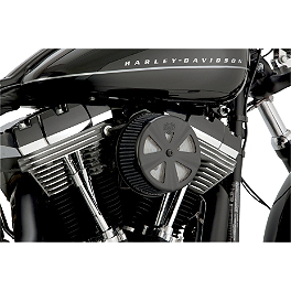 Vance & Hines Naked VO2 Skullcap Crown Air Cleaner Insert - 1999 Harley Davidson Night Train - FXSTB Vance & Hines Big Radius 2-Into-1 Exhaust - Black