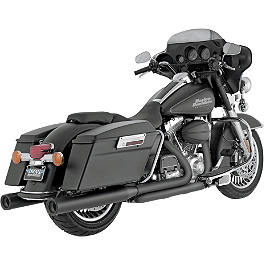 "Vance & Hines 4"" Blackout Rounds Slip-On Exhaust - Black - 2012 Harley Davidson Street Glide - FLHX Vance & Hines Power Duals Headpipe System - Chrome"
