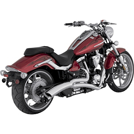Vance & Hines Big Radius 2-Into-1 Exhaust - Chrome - 2008 Yamaha Raider 1900 S - XV19CS Arlen Ness Battistini Round Rear Footpegs - Black