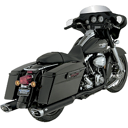 Vance & Hines Dresser Duals Headpipe System - Black - Vance & Hines Monster Ovals Slip-On Exhaust - Black With Chrome Tips