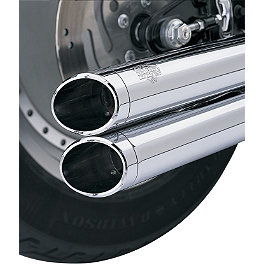 Vance & Hines Big Shots Long Exhaust End Caps - Kuryakyn Power Cell Exhaust Cover - Chrome