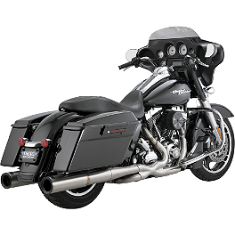 Vance & Hines Hi-Output Duals Exhaust - Stainless Steel - 2013 Harley Davidson Street Glide - FLHX Vance & Hines EPA Compliant Twin Slash Slip-On Exhaust - Chrome