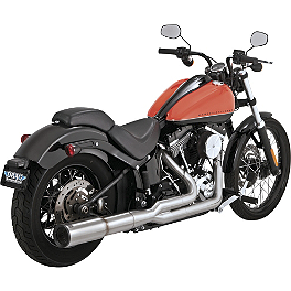 Vance & Hines Hi-Output 2-Into-1 Exhaust - Stainless Steel - 2000 Harley Davidson Fat Boy - FLSTF Vance & Hines Big Shots Staggered Exhaust - Black