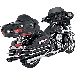 Vance & Hines Monster Ovals Slip-On Exhaust - Chrome With Black Tips - Vance & Hines Big Shots Duals Exhaust - Black