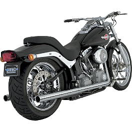 Vance & Hines Softail Duals Exhaust - Chrome - 2013 Harley Davidson Fat Boy Lo - FLSTFB Vance & Hines Big Radius 2-Into-1 Exhaust - Black