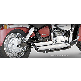 Vance & Hines Shortshots Staggered Exhaust - Chrome - 2007 Honda Shadow Spirit - VT750C2 Vance & Hines Shortshots Staggered Exhaust - Black