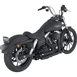 Vance & Hines Shortshots Staggered Exhaust - Black - 2010 Harley Davidson Dyna Super Glide Custom - FXDC Vance & Hines Big Radius 2-Into-2 Exhaust - Black