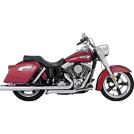 Vance & Hines Switchback Duals With Monster Rounds Slip-on Mufflers - Chrome - 2013 Harley Davidson Dyna Switchback - FLD Vance & Hines Switchback Duals With Twin Slash Slip-on Mufflers - Chrome