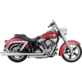 Vance & Hines Switchback Duals With Twin Slash Slip-on Mufflers - Chrome - Vance & Hines Switchback Duals With Monster Rounds Slip-on Mufflers - Chrome