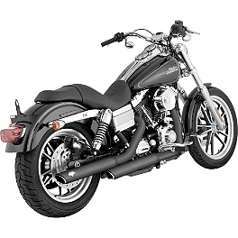 "Vance & Hines 3"" Twin Slash Rounds Slip-On Exhaust - Black - 2013 Harley Davidson Dyna Street Bob - FXDB Vance & Hines Big Radius 2-Into-2 Exhaust - Black"