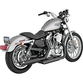 "Vance & Hines 3"" Twin Slash Rounds Slip-On Exhaust - Black - 2013 Harley Davidson Sportster Forty-Eight - XL1200X Vance & Hines Exhaust Port Gasket Kit"