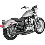 "Vance & Hines 3"" Twin Slash Rounds Slip-On Exhaust - Black - Vance and Hines Cruiser Exhaust"