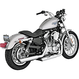 "Vance & Hines 3"" Twin Slash Rounds Slip-On Exhaust - Chrome - Vance & Hines Fuel Pak"