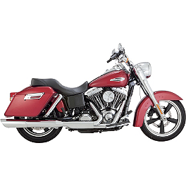 Vance & Hines Twin Slash 2-Into-1 Slip-On Exhaust - Chrome - 2012 Harley Davidson Dyna Switchback - FLD Vance & Hines Switchback Duals With Twin Slash Slip-on Mufflers - Chrome