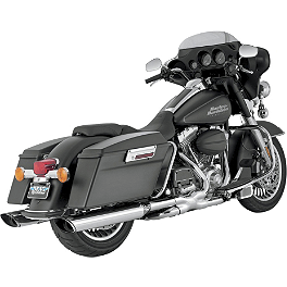 Vance & Hines Twin Slash Monster Slip-On Exhaust - Chrome - 2010 Harley Davidson Road King - FLHR Vance & Hines EPA Compliant Twin Slash Slip-On Exhaust - Chrome