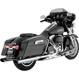 Vance & Hines Twin Slash Ovals Slip-On Exhaust - Chrome - Vance & Hines Tapered Slash-Cut Slip-On Exhaust - Chrome