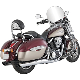 Vance & Hines Twin Slash Rounds Slip-On Exhaust - Chrome - 2012 Kawasaki Vulcan 1700 Vaquero - VN1700J Cobra Touring Slip-On Muffler With Billet Tips
