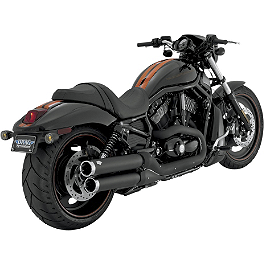 "Vance & Hines 3-1/2"" Widow Slip-On Mufflers - Black - Vance & Hines Competition Series 2-Into-1 Exhaust - Brushed Stainless"