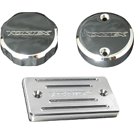 Vortex Front Brake Reservoir Cap - Chrome - 1999 Suzuki GSX1300R - Hayabusa Vortex Bar End Sliders - Black