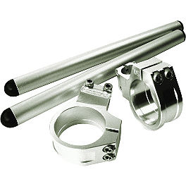Vortex 7 Degree Clip-Ons 46mm - Silver - 2000 Kawasaki ZX600 - Ninja ZX-6R Vortex Bar End Sliders - Black