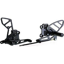 Vortex Adjustable Complete Rearset - Black - 2006 Suzuki SV1000 Woodcraft Complete Rearset Kit