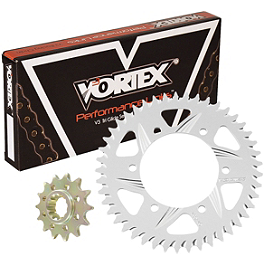 Vortex Sprocket & Chain Kit 525 - Silver - 2002 Kawasaki ZX900 - Ninja ZX-9R Vortex Bar End Sliders - Black