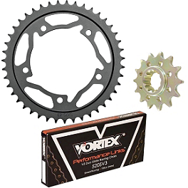 Vortex 520 Steel Sprocket & Chain Kit - Vortex Adjustable Replacement Brake/Shift Footpeg - Silver
