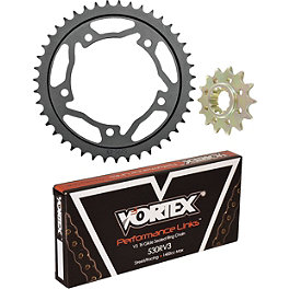 Vortex 530 Steel Sprocket & Chain Kit - 2011 Kawasaki ZX1400 - Ninja ZX-14 Vortex Bar End Sliders - Black