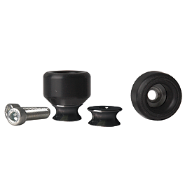 Vortex Swingarm Slider Spools - 10mm Black - 2007 Kawasaki ZX600 - Ninja ZX-6R Vortex Sprocket & Chain Kit 520 - Black
