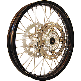 Warp 9 Complete Rear Wheel 2.15X19 - Silver/Black - 2001 KTM 380SX Cheng Shin Rear Paddle Tire - 110/90-19 - 8 Paddle