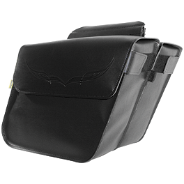 Willie & Max Condor Slant Saddlebags - Standard - Willie & Max Synthetic Leather Revolution Hard Mount Retro Saddlebag