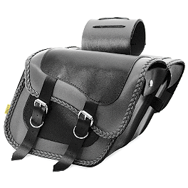 Willie & Max Gray Thunder Braided Slant Saddlebags - Compact - Willie & Max Black Magic Slant Saddlebags - Super