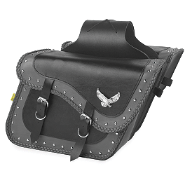 Willie & Max Gray Thunder Studded Slant Saddlebags - Compact - Willie & Max Braided Tool Pouch