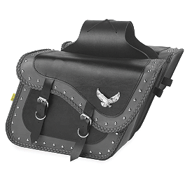 Willie & Max Gray Thunder Studded Slant Saddlebags - Super - Willie & Max Showstopper Universal Stem Nut Cover