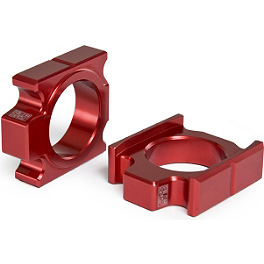 Yoshimura Axle Adjuster Blocks - Red - Yoshimura Steering Stem Nut - Red