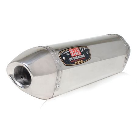 Yoshimura R-77 Slip-On Exhaust - Stainless Steel Single With Stainless End Cap - Main