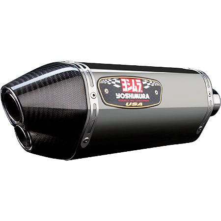 Yoshimura R-77D Dual Outlet 3/4 System Exhaust - Stainless Steel With Carbon Fiber End Cap - Main