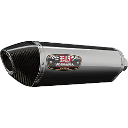 Yoshimura R-77 Slip-On Exhaust - Stainless Steel With Carbon Fiber End Cap - Galfer Wave Brake Rotor - Front - Chrome