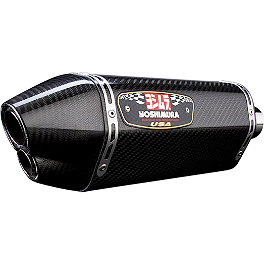 Yoshimura R-77D Dual Outlet Slip-On Exhaust - Carbon Fiber - Yoshimura R-77 3/4 System Exhaust - Stainless Steel With Carbon Fiber End Cap