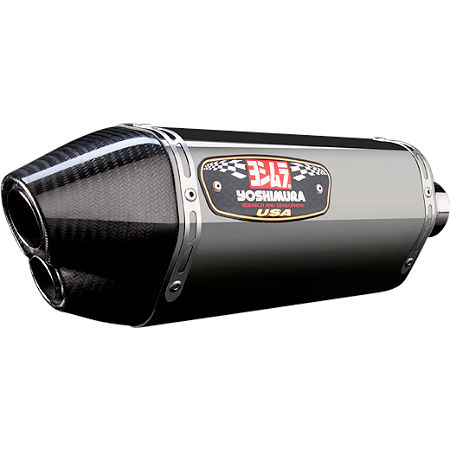 Yoshimura R-77D Dual Outlet Slip-On Exhaust - Stainless Steel With Carbon Fiber End Cap - Main