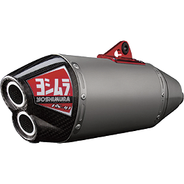 Yoshimura RS-4D Pro Series Full System Exhaust - Titanium/Titanium - 2011 Suzuki RMZ250 Yoshimura Large Engine Plug - Red