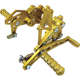 Yana Shiki Billet Rearset - Gold - 2010 Yamaha YZF - R6 Woodcraft Rearset Kit With Shift Pedal