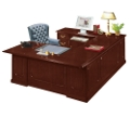 Traditional Executive U-Desk with Left Bridge, 10038