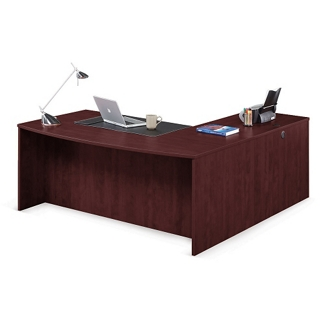 "Solutions Bowfront Executive L-Desk with Left Return - 71""W, 10061"