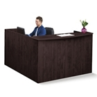 """Solutions Reception L-Desk with Right Return and Full Pedestal - 71""""W, 10069"""