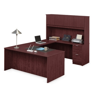 "Solutions U-Desk with Right Bridge and Hutch - 71""W, 10074"