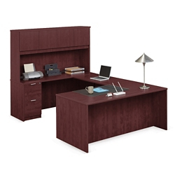 "Solutions U-Desk with Left Bridge and Hutch - 71""W, 10079"