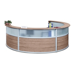"Compass Four Person Reception Desk with Glass Panel - 140""W x 106""D, 10146"
