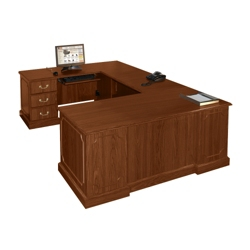 U shaped desks shop wrap around desks with desk hutch for Wrap around desk plans